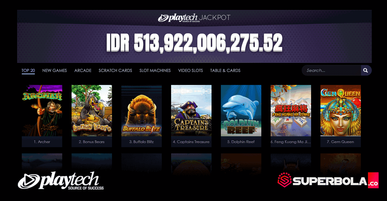 Daftar permainan slot Playtech SuperBola