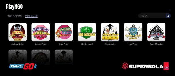 Daftar permainan table game PlayNGo SuperBola