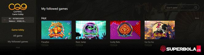 Lobby utama permainan slot online CQ9 situs SBObet SuperBola