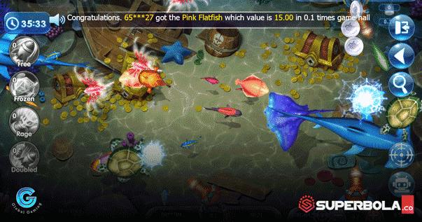 Tampilan tembak ikan Global Gaming SuperBola